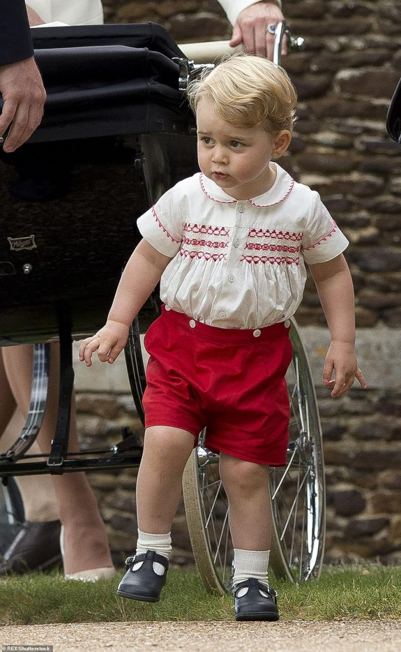 Prince George at two: Louis's older brother at age two, pictured at the christening of their sister Charlotte at St Mary Magdalene Church in July 2015