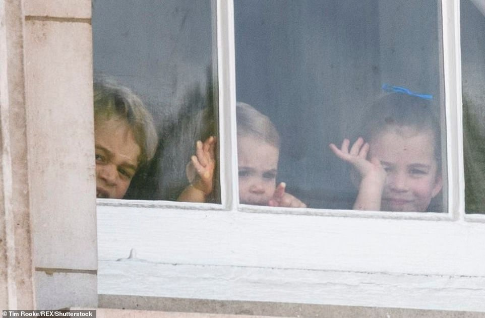 Prince George, Prince Louis, and Princess Charlotte at the Trooping the Colour ceremony in London,on June 8, 2019