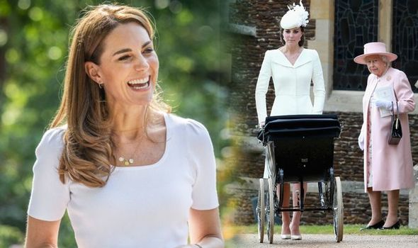 Kate Middleton pushing a pram and with the Queen 1354295