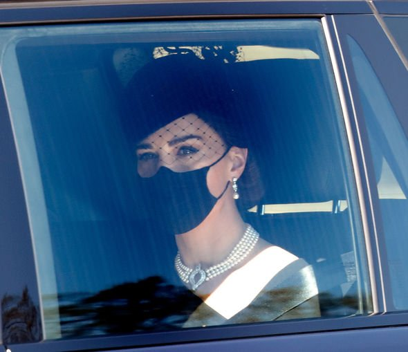 Kate Middleton in a funeral car