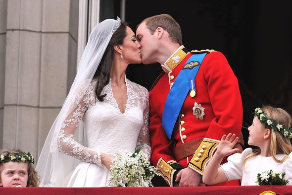 Crowds gathered to watch the couple's famous balcony kiss