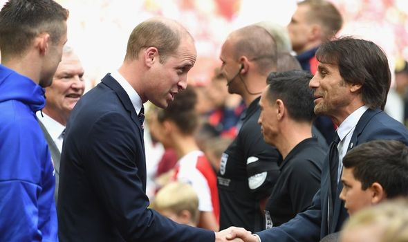 Prince William talks to the Chelsea side in 2017(Image: GETTY)