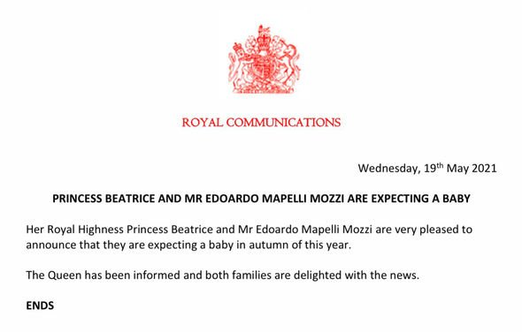 Princess Beatrice royal baby news: The Palace announced the happy news on Harry and Meghan's wedding anniversary(Image: Twitter)