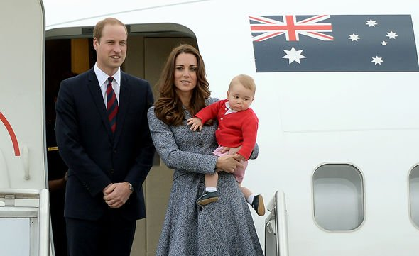 The Duke and Duchess of Cambridge and Prince George depart Canberra 25-Apr-2014